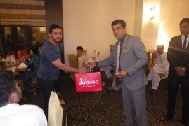 Participants wining exciting prizes during iftar quiz, Ramada Islamabad 2014