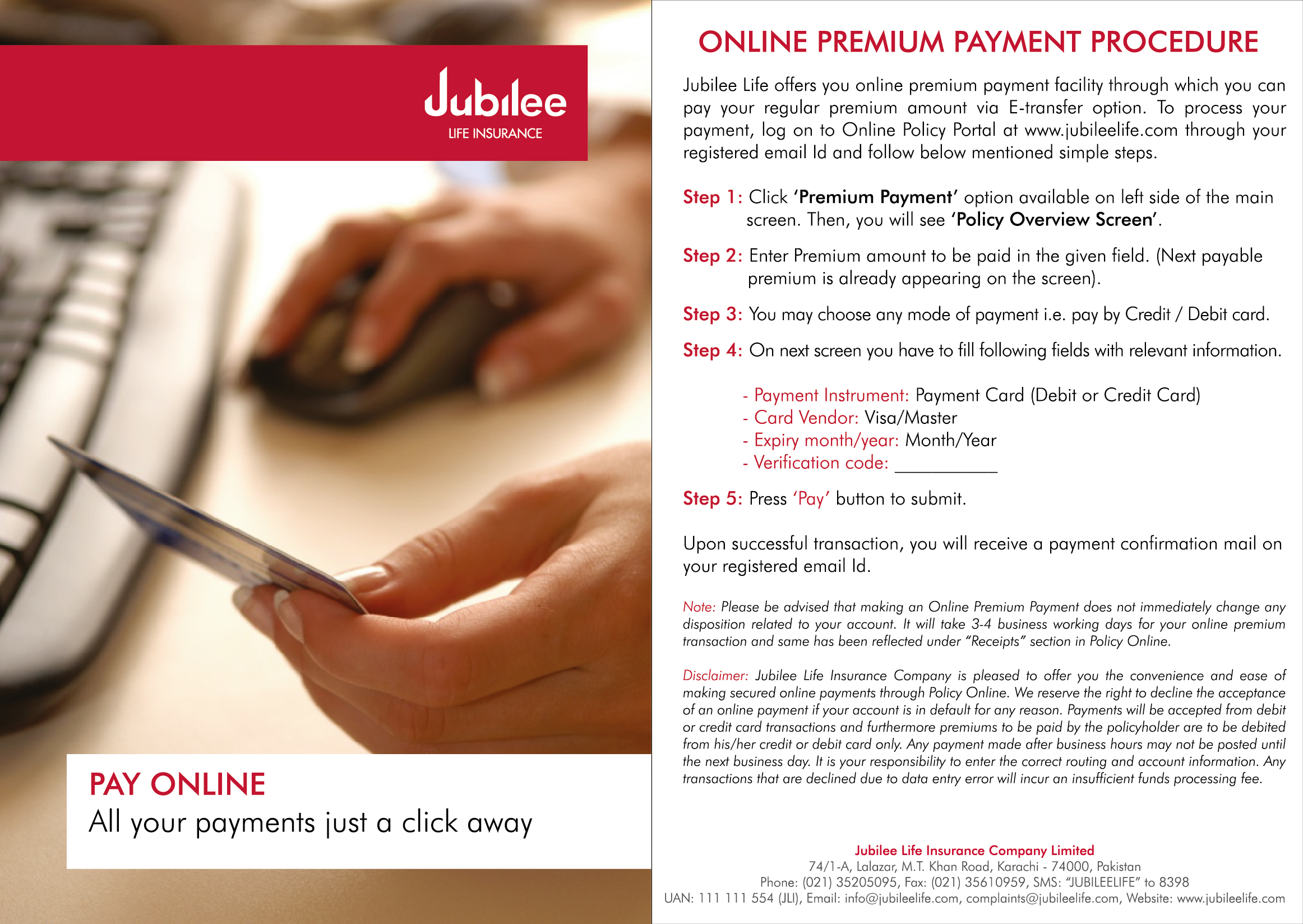 Payment Options Jubilee Life